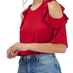 Topshop Bright Red Cold Shoulder Ruffle Blouse 2